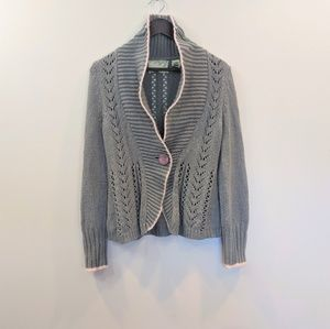Anthro Sparrow Knitted Gray Cardigan Sweater